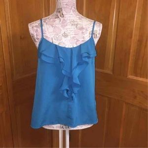 Forever 21 Blue Ruffle Front Tank Top